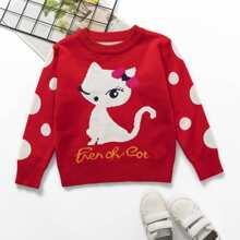 Toddler Girls Cat & Letter Graphic Sweater
