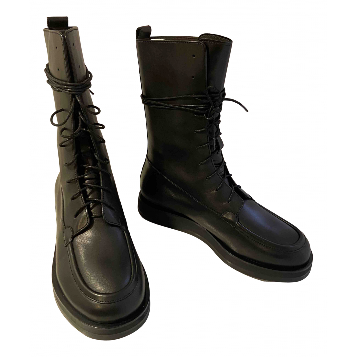 The Row - Boots   pour femme en cuir - noir