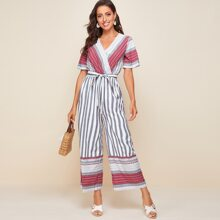 Surplice Neck Belted Tribal Palazzo Jumpsuit