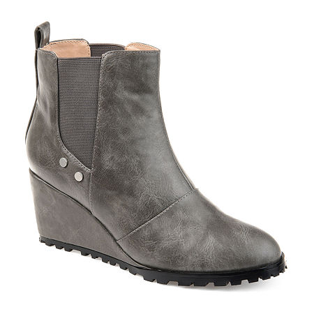 Journee Collection Womens Jessie Booties Pull-on Wedge Heel, 6 1/2 Medium, Gray