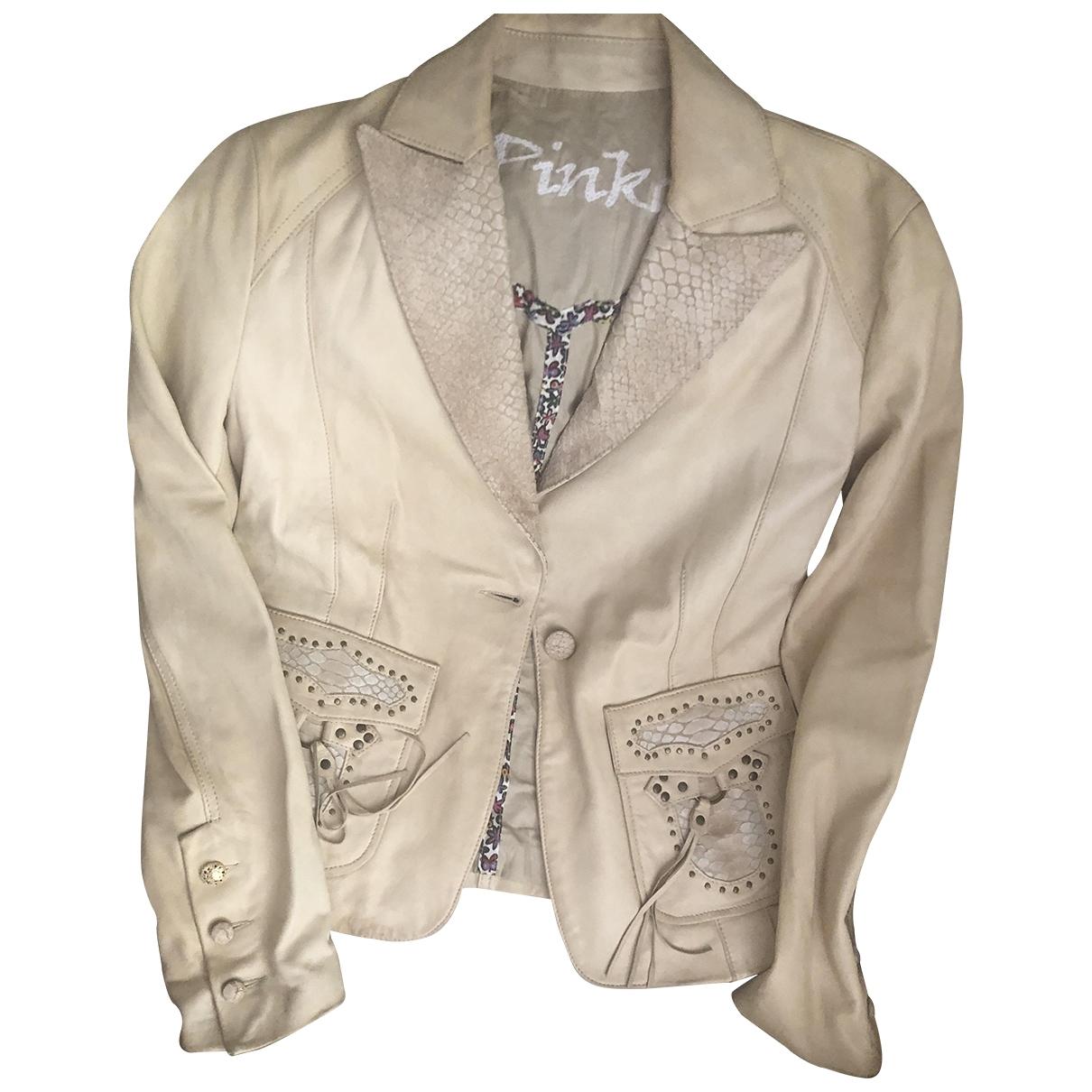 Pinko - Veste   pour femme en cuir - beige