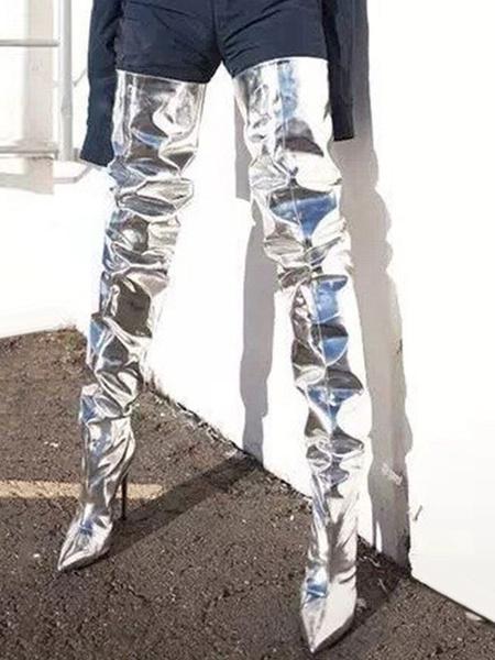 Milanoo Botas altas mujer plateado  con pala de charol de tacon de stiletto de puntera puntiaguada 11cm Color liso Otoño Invierno Cremallera