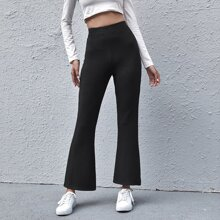 High Waist Rib-knit Flare Leg Pants