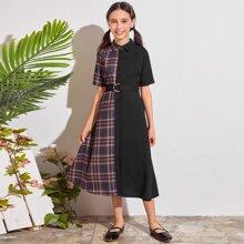 Shirt Kleid mit Karo Muster, Schnalle und Guertel
