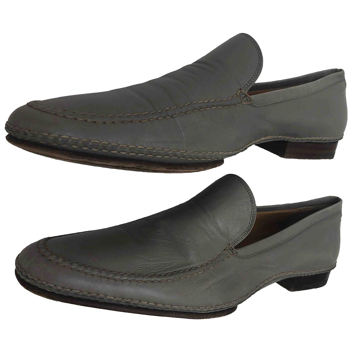 Hermès \N Grey Leather Flats for Women 41.5 EU