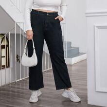Plus High Waist Straight Jeans