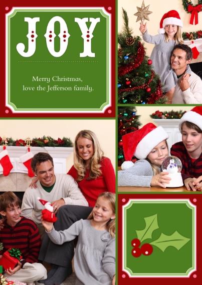 Christmas Photo Cards 5x7 Cards, Standard Cardstock 85lb, Card & Stationery -Joy + Christmas Holly