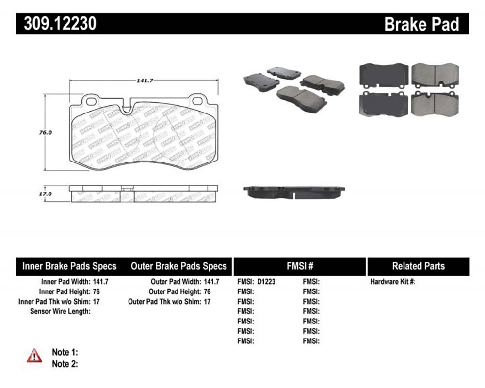StopTech 309.1223 Sport Brake Pads with Shims/Hardware Mercedes-Benz Front