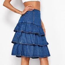 Zip Back Layered Denim Skirt