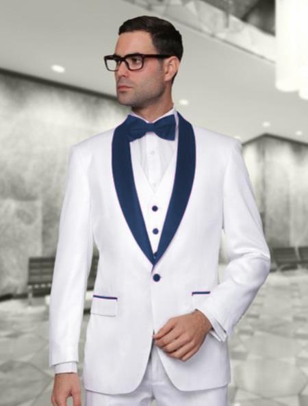 Men's White and Navy Blue Tuxedo Wedding Vest & Pants