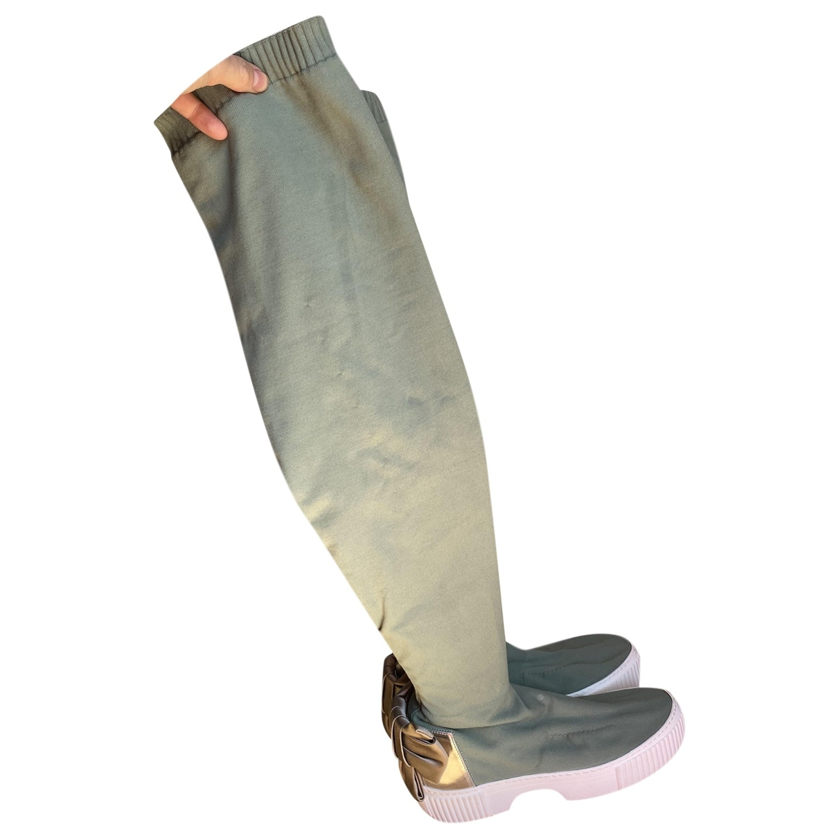 Agl \N Green Cloth Boots for Women 39 EU