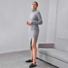 High Neck Split Thigh Rib-knit Dress
