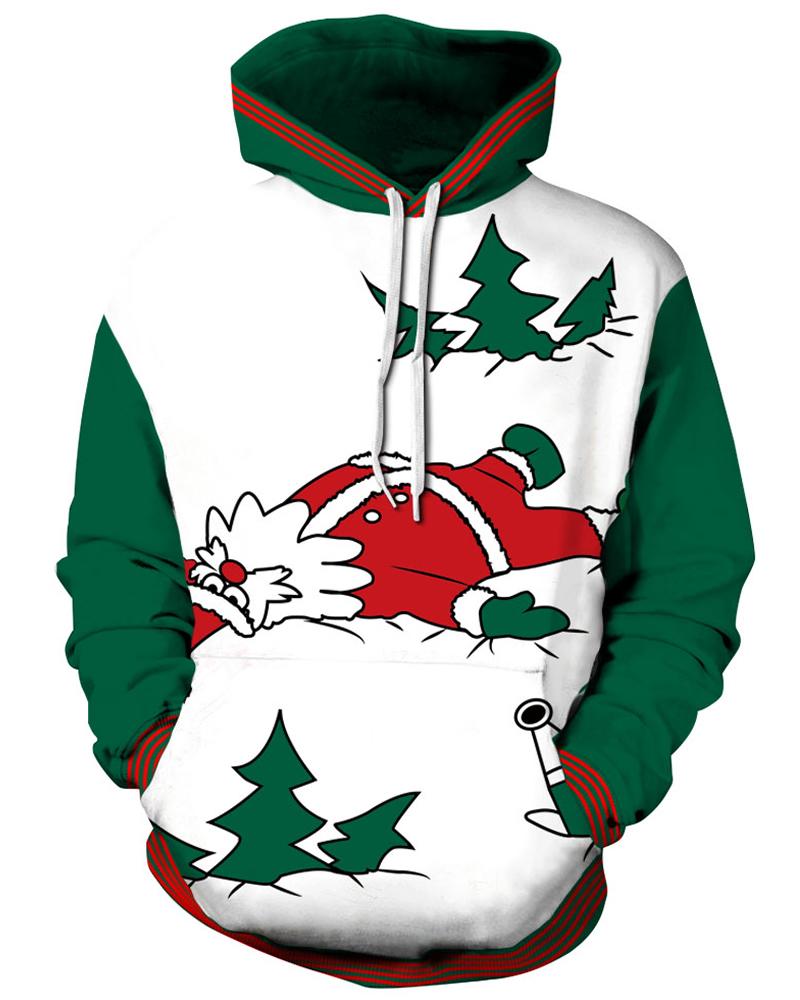 Long Sleeve Christmas Santa Lying Pattern 3D Painted Hoodie