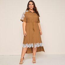 Plus Guipure Lace Applique Tassel Belted Dip Hem Shirt Dress