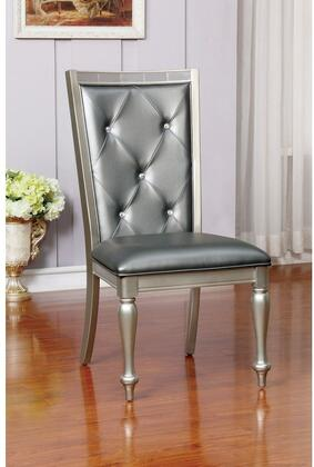 Sarina Collection CM3229SC-2PK Set of 2 Contemporary Style Side Chair with Turned Legs  Padded Leatherette Cushion and Button Tufted Back in Silver