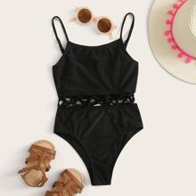 Girls Lattice One Piece Swimsuit