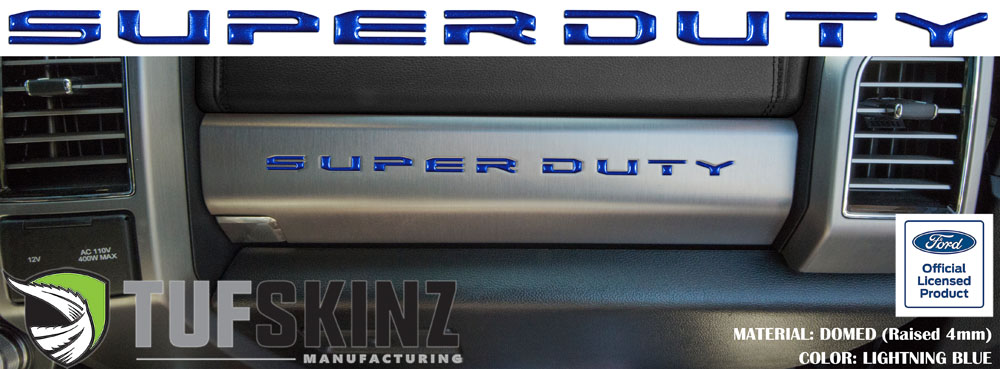 Tufskinz SUP052-GBL-G SUPER DUTY Glove Box Letter Inserts Fits 2017-2021 Ford Super Duty 10 Piece Kit in Lightning Blue