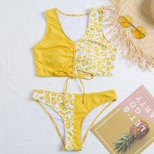 Bikini Badeanzug mit Grafik, Kordelzug, Knoten und Ruesche