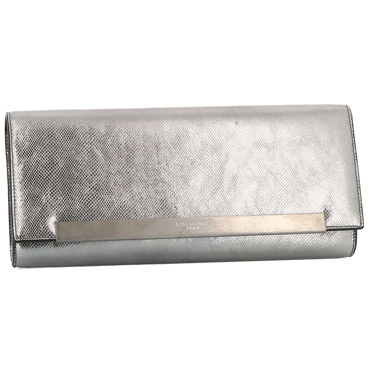 Saint Laurent \N Clutch in  Silber Leder