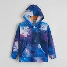 Hoodie mit Galaxie Muster und Kaenguru Taschen