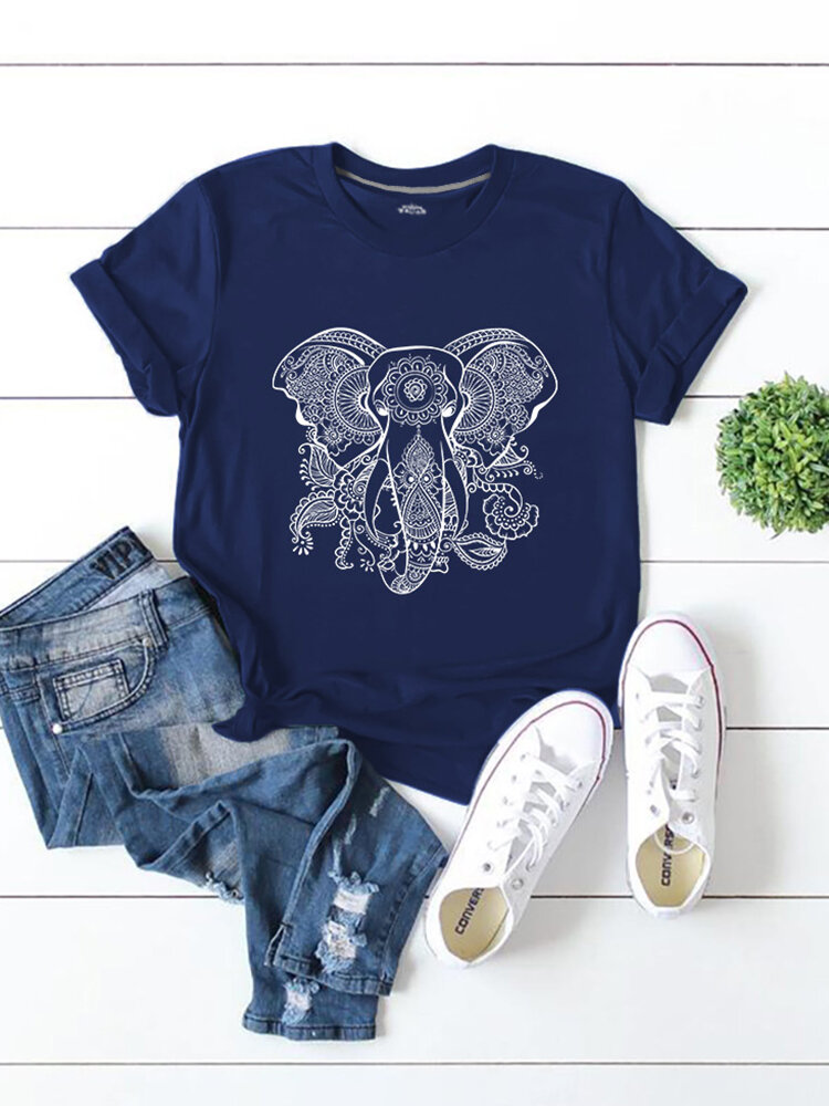 Elephant Printed Short Sleeve O-neck T-shirt For Women