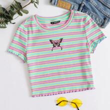Lettuce Trim Butterfly Embroidery Colorful Striped Top