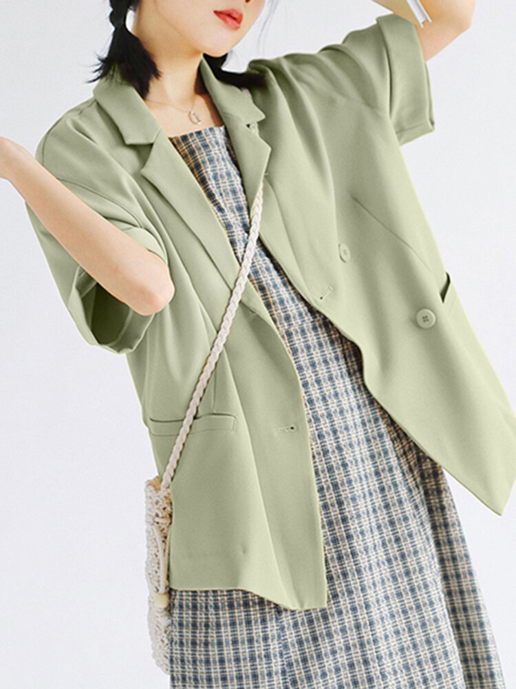 Solid Color Short Sleeve Turn-down Collar Blazer For Women