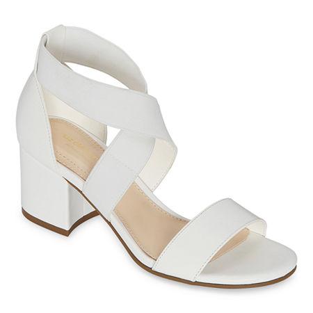 Liz Claiborne Womens Eaves Heeled Sandals, 9 1/2 Wide, White