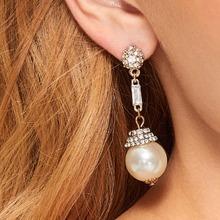 1pair Rhinestone Decor Faux Pearl Decor Drop Earrings