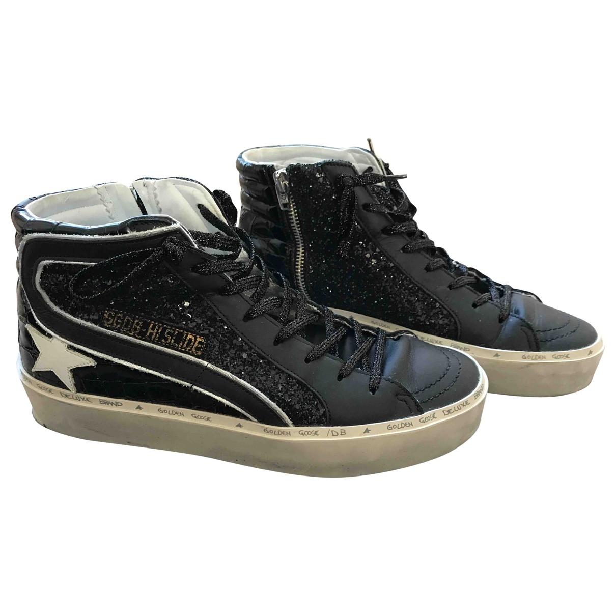 Golden Goose Slide Sneakers in  Schwarz Leder