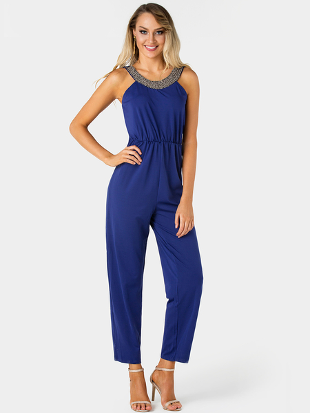 Yoins Navy Sequins Embellished Plain Pleated Stretch Waistband Jumpsuit