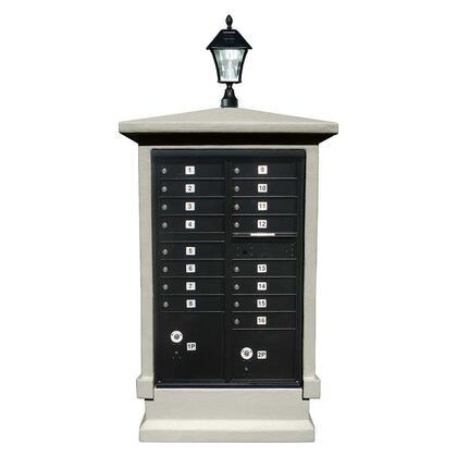 EVMC-SHRT-GY-SL Estateview stucco CBU Mailbox Center  SHORT pedestal (column only) in Slate Gray Color with Bayview Solar