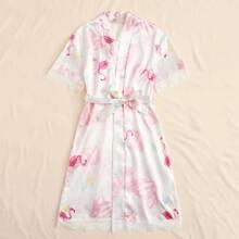 Girls Lace Panel Flamingo Print Belted Satin Robe