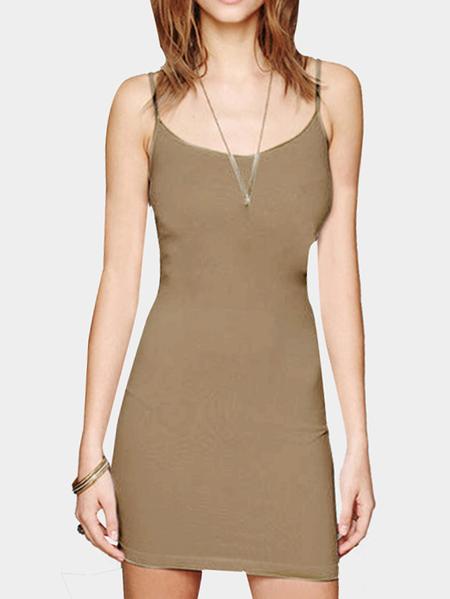 Yoins Khaki Cami Bodycon Mini Dress