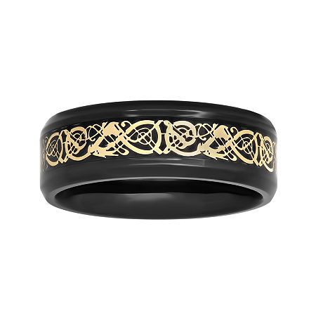 Mens Two-Tone Celtic Dragon 8mm Wedding Band, 12 1/2 , No Color Family