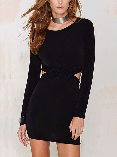 Yoins Knot Front Cutout Dress in Black