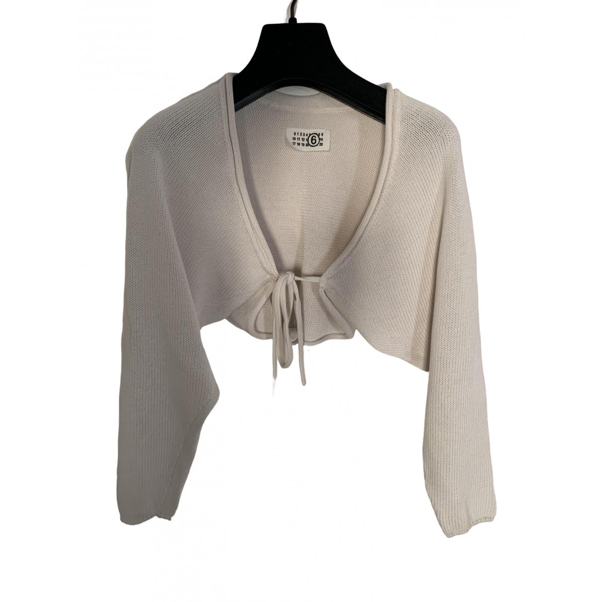 Mm6 - Pull   pour femme en coton - blanc