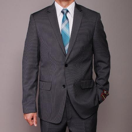 2 Button Charcoal Pinstripe Slim Fit Suit Mens Cheap