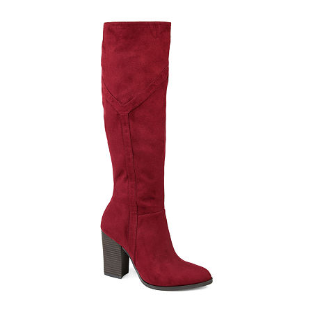 Journee Collection Womens Kyllie Wide Calf Stacked Heel Dress Boots, 10 Medium, Red
