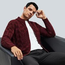 Men Zip Up Cable Knit Cardigan