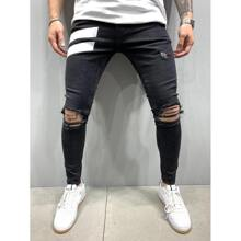 Men Colorblock Ripped Skinny Jeans
