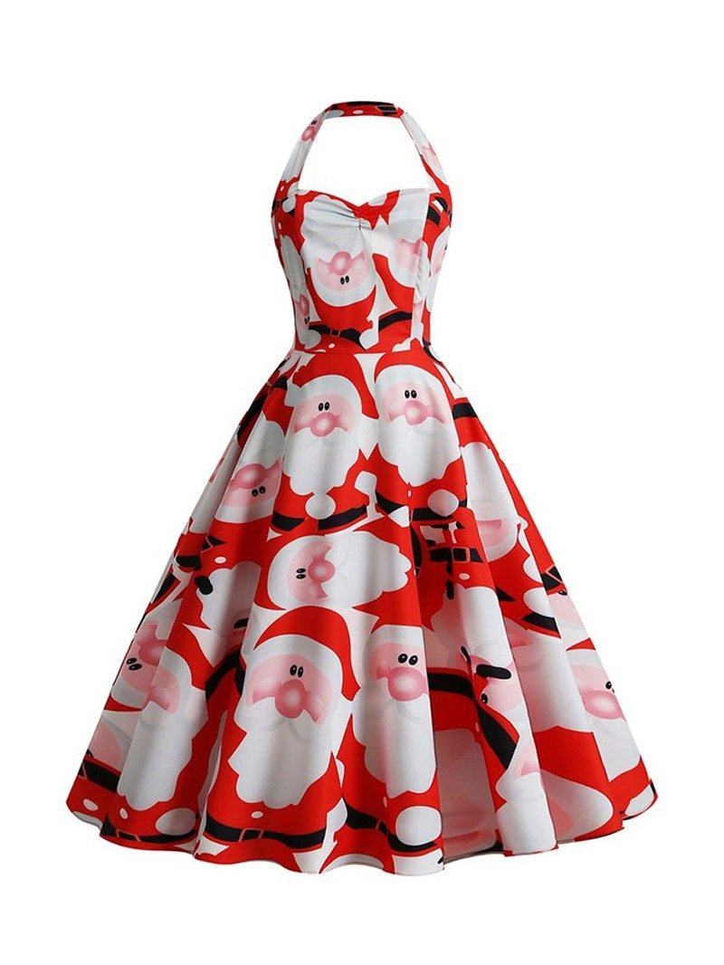 Ericdress Christmas Print Sleeveless Mid-Calf Pullover Halter Dress