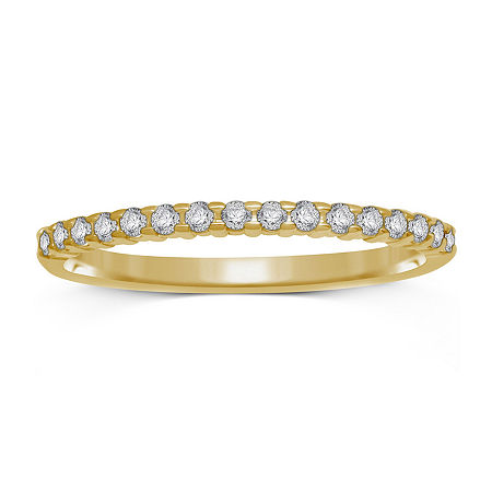 1/7 CT. T.W. Genuine Diamond 10K Yellow Gold Band Ring, 8 , No Color Family