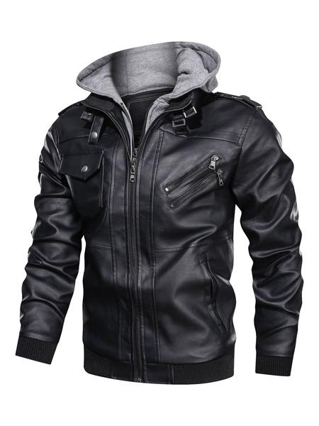 Milanoo Men\'s Leather Jackets Hooded Biker Jacket
