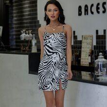 Eilly Bazar vestido de rayas de cebra bajo con abertura
