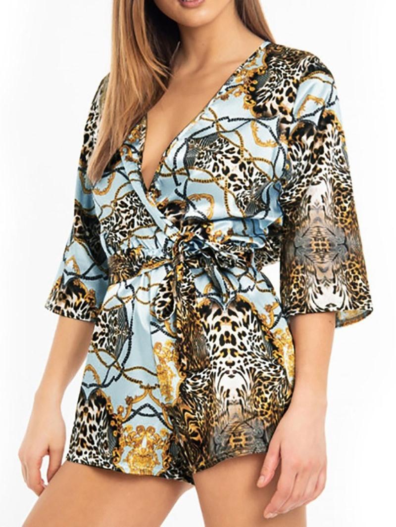 Ericdress Leopard Print Shorts Loose High Waist Romper