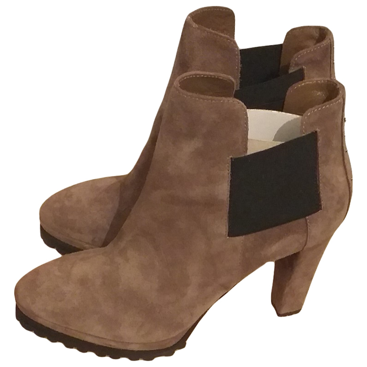 Non Signé / Unsigned \N Beige Leather Boots for Women 39 EU