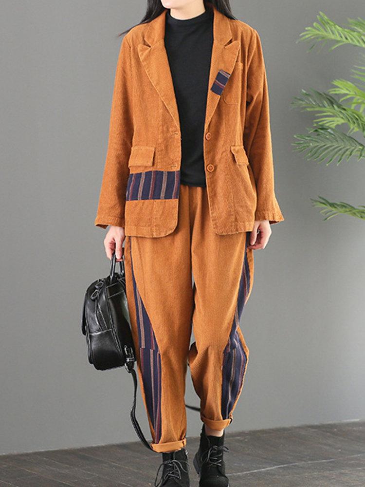 Patch Strip Corduroy Casual Women Suit