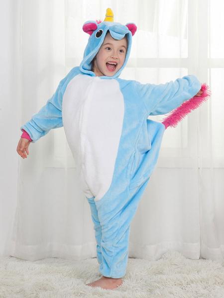 Milanoo Disfraz Halloween Pijama Unicornio 2020 Kigurumi Pijamas Azul Niños Onesie Unisex Disfraz de Halloween Carnaval Halloween