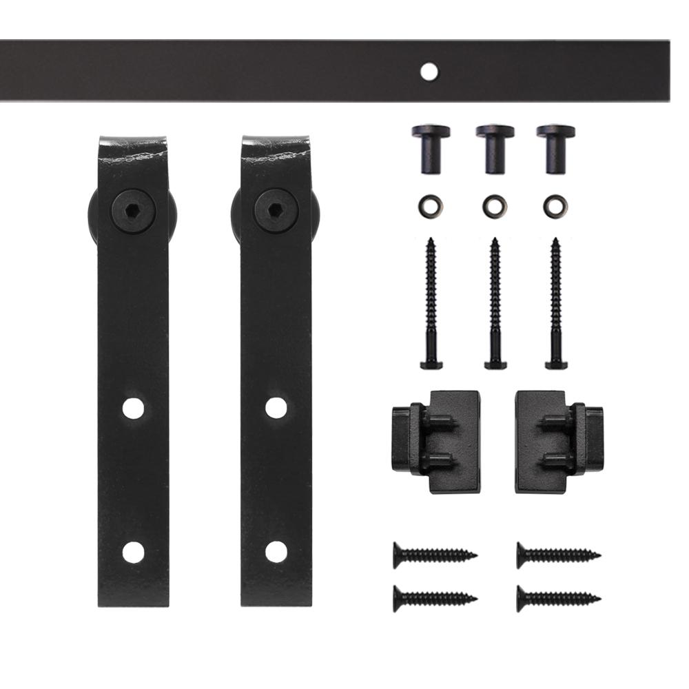 Black Flat Hook Rolling Single Furniture Door Kit with 4-ft. Rail